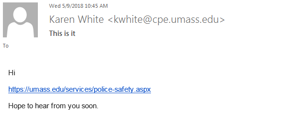 Phishing example that appears to have been sent by 'Karen White'