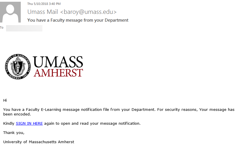 Phishing example that claims to have been sent by 'Umass Mail'
