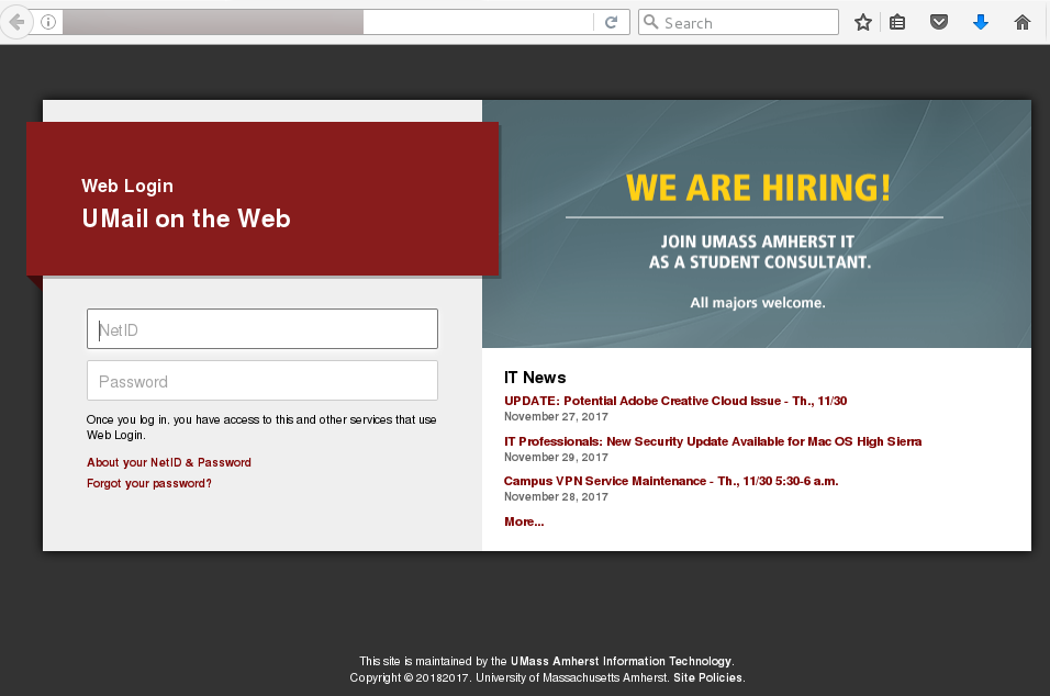 Fake version of the umass login page. the web address was not a trustworthy address.