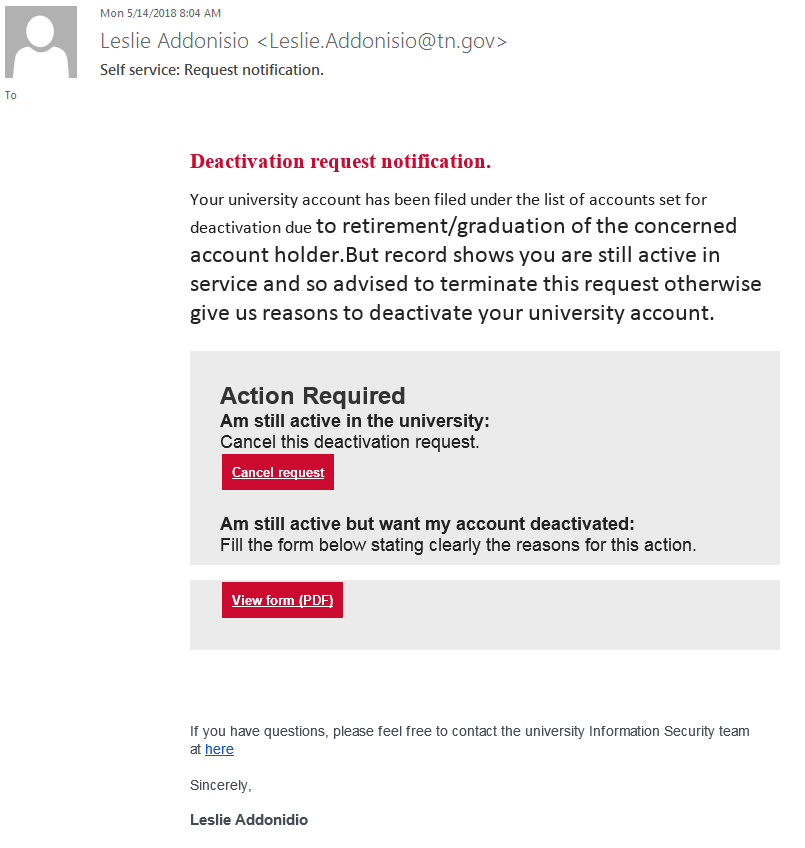 Phishing example that claims to have been sent by 'Leslie Addonisio'