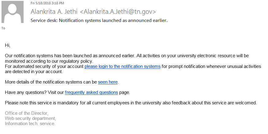 Phishing example that claims to have been sent by 'Alankrita A. Jethi'