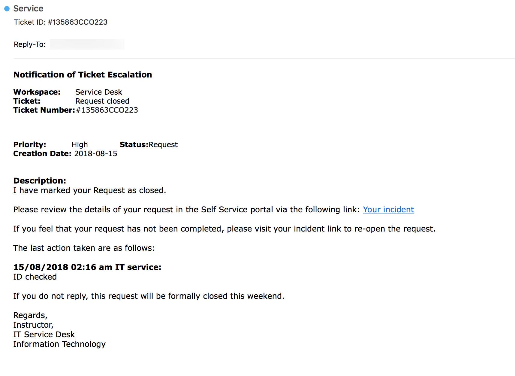 phishing message which includes a link whose address is not displayed