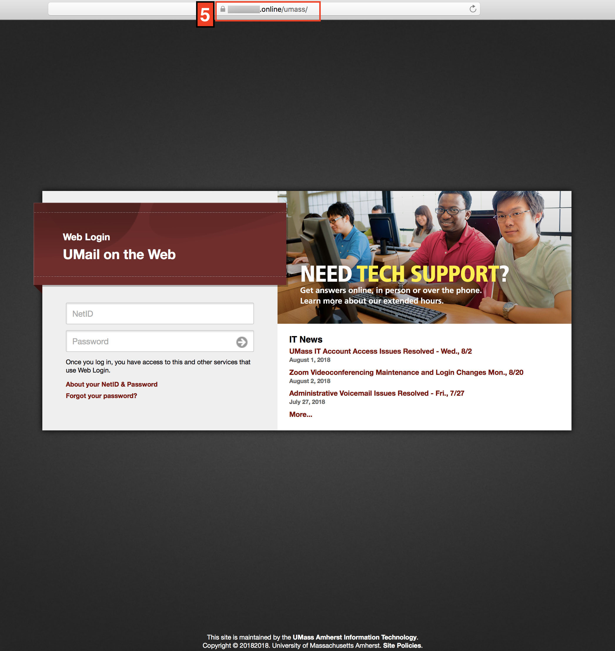 Fake umass login page using a '.online' address rather than '.edu'
