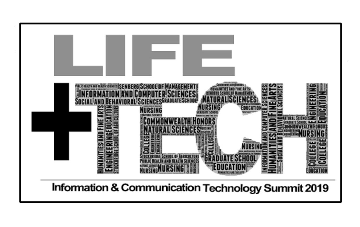 """Life + Tech"" Word Cloud comprised of UMass Amherst Colleges & Schools"