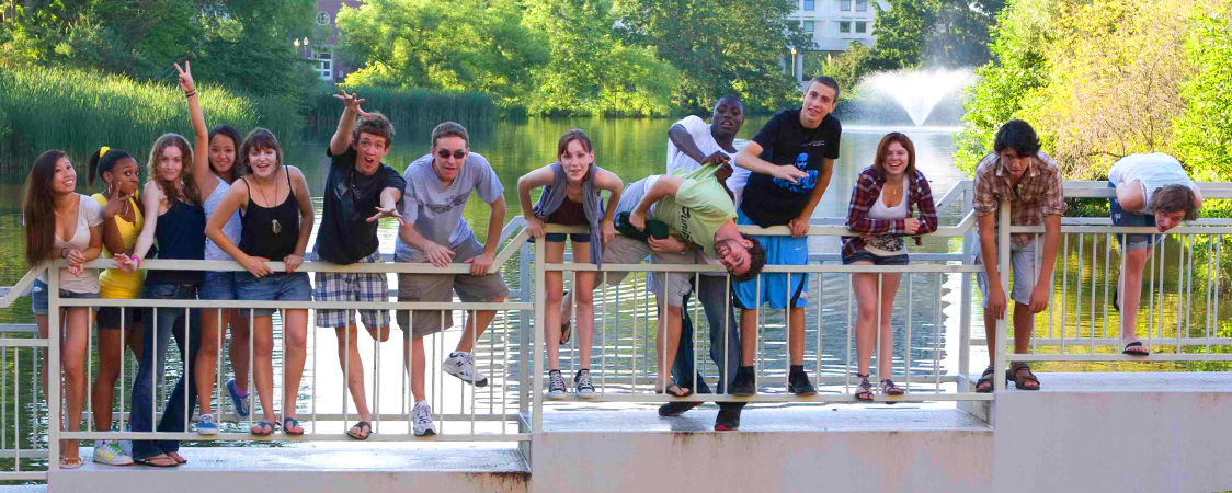 Students on the Isle of View bridge at UMass Amherst