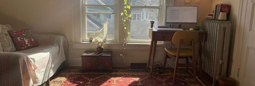 Author's room, sunlit. A writing desk to the right of a large window with a pothos plant hanging from the middle of it