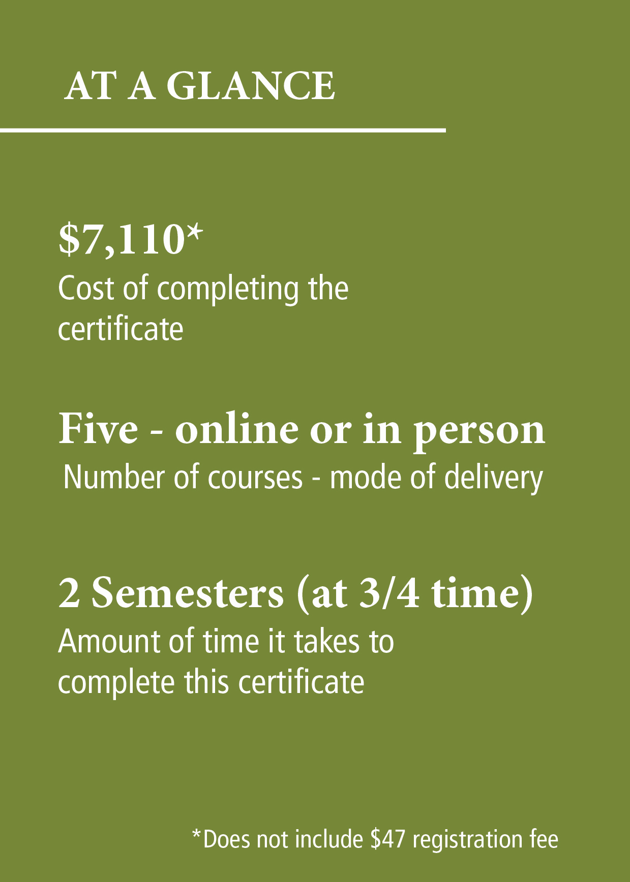 At a glance - Certificates