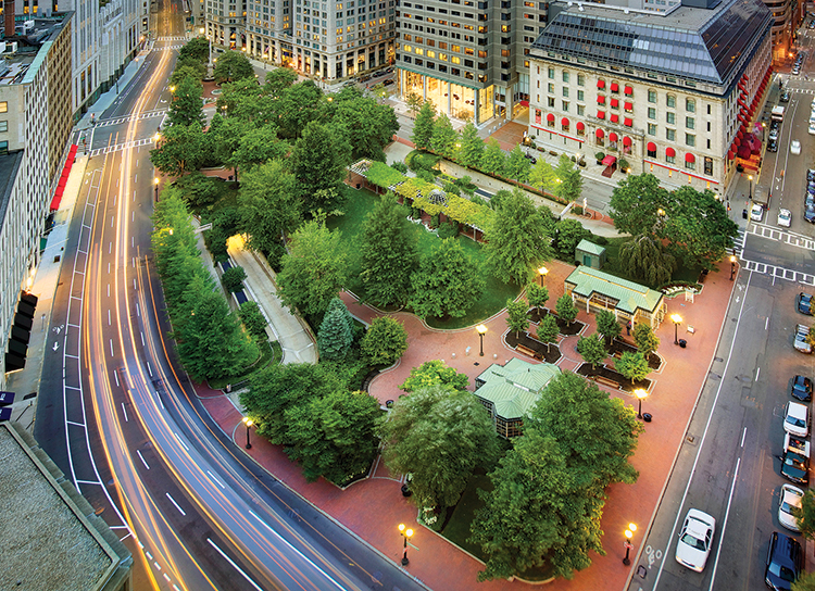 """Was anything built in Boston, ever, more embraceably ours, more instantly loved by both the public and the professional designers, than the new park in Post Office Square?""  Image Credit: Ed Wonsek. Robert Campbell, Boston Globe architecture critic."