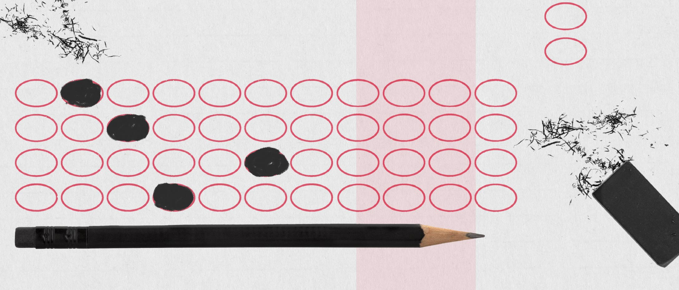 Scantron bubble test sheet with pencil and eraser shavings