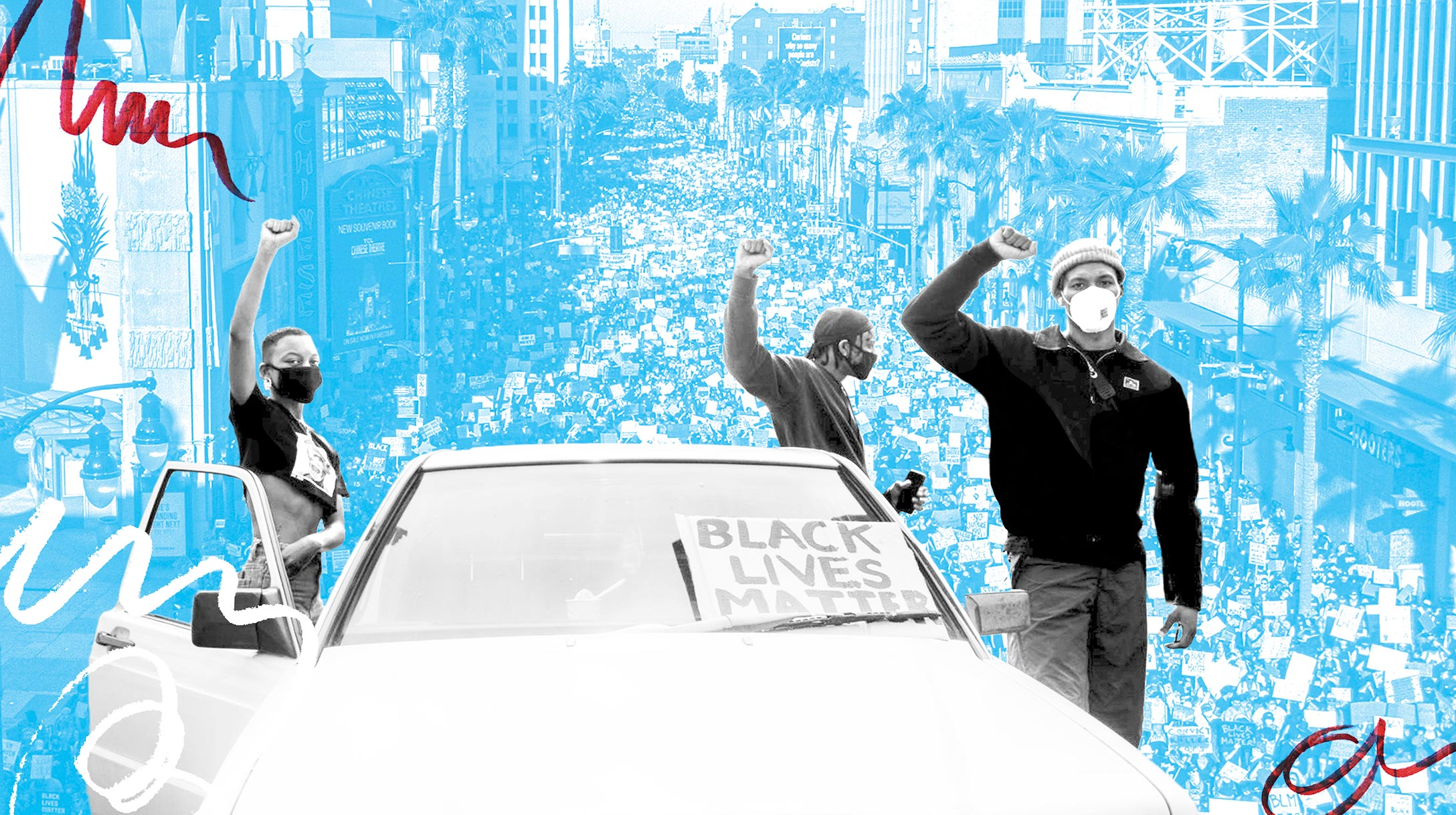 Protestors stand by a car with arms raised and holding a BLM sign.