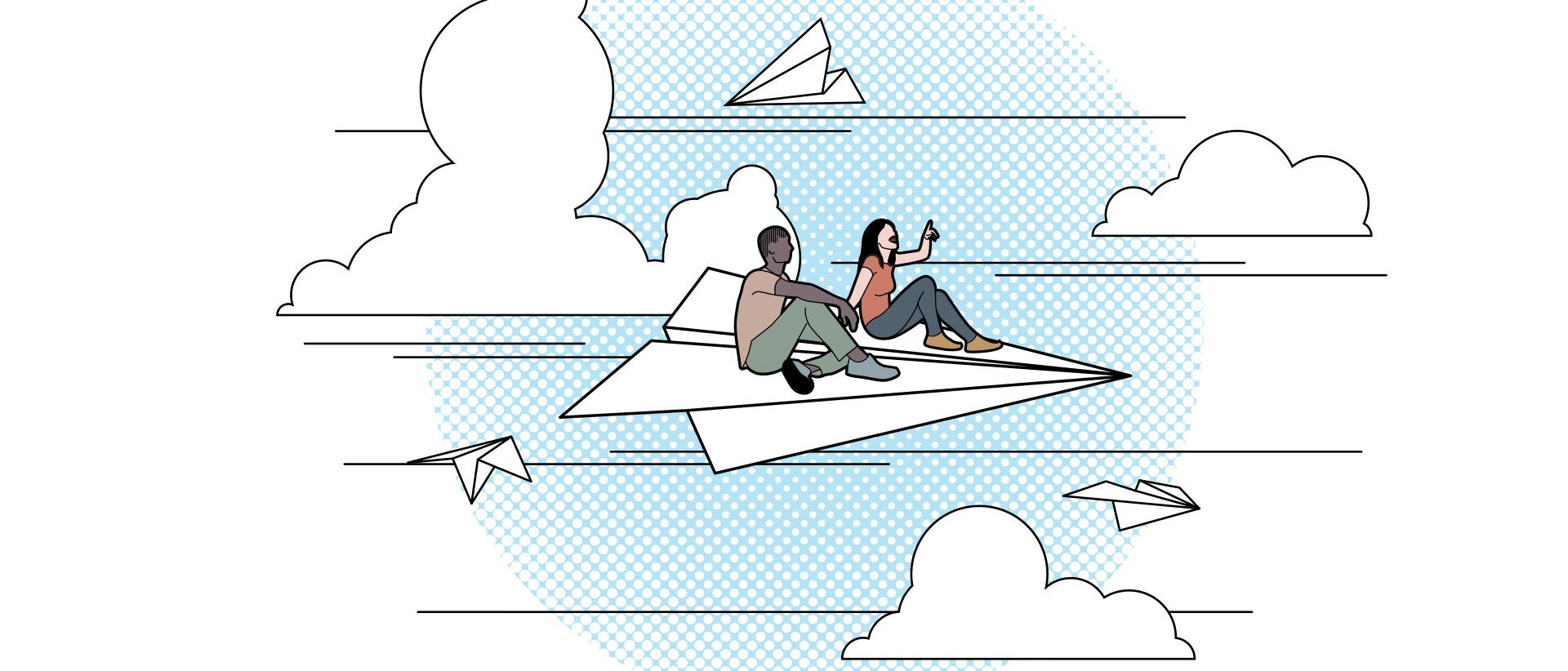 Illustration of two people riding on a large paper airplane as it flies through the sky