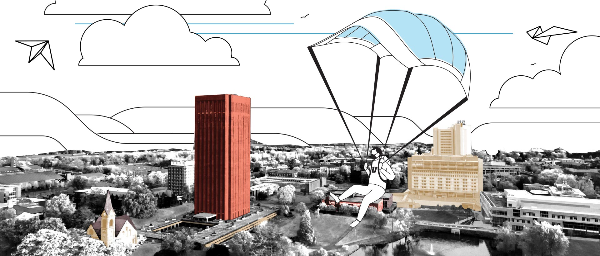 Photo illustration portrays a student parachuting onto the UMass campus using a medical mask as a parachute