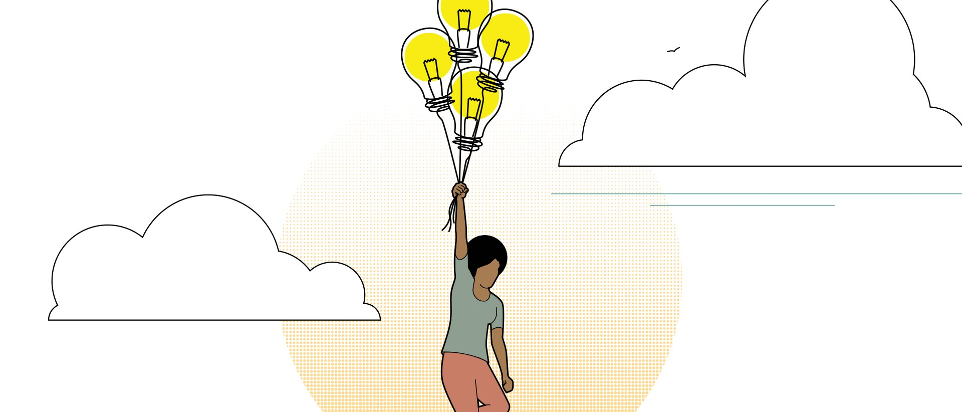 Illustration of a person floating among clouds by holding a bunch of balloons. The balloons have light bulbs inside them.
