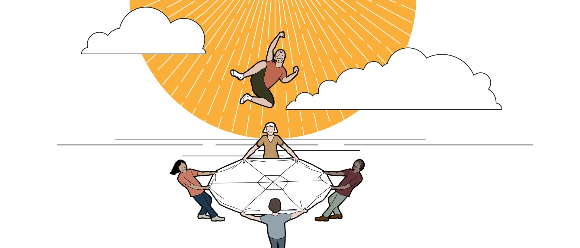 Illustration showing a group of people hold a round trampoline-like life net for a person who is bouncing on it gleefully.
