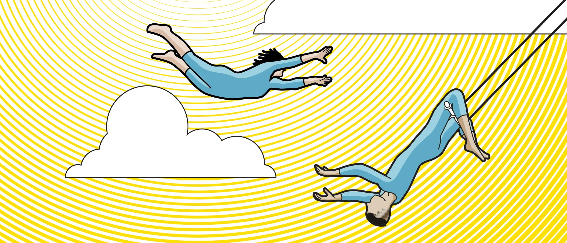 Illustration of a trapeze artist midair about to be caught by the partner on the other trapeze