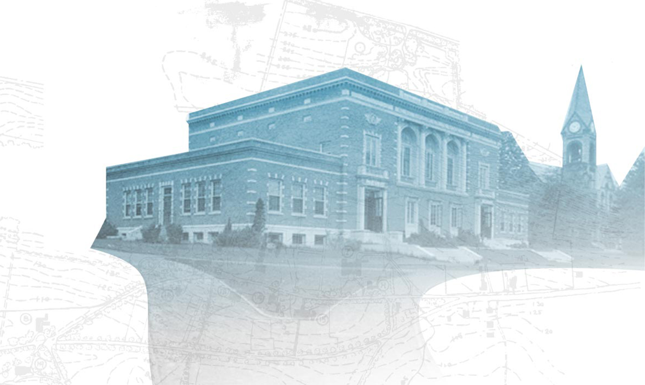 Blue treated photo of Memorial Hall with sketch overlay.