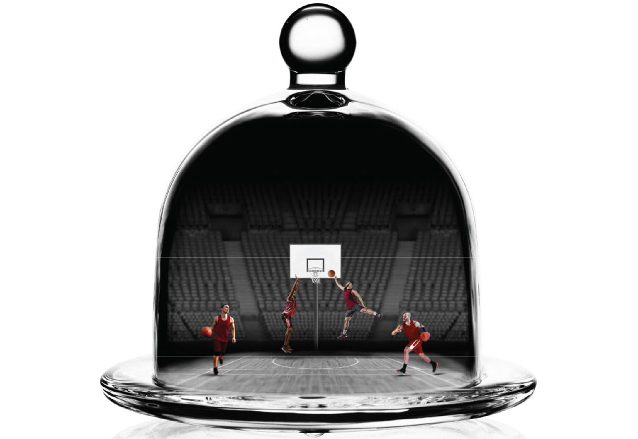 Bell shaped container with basketball players on a court and empty stands behind.