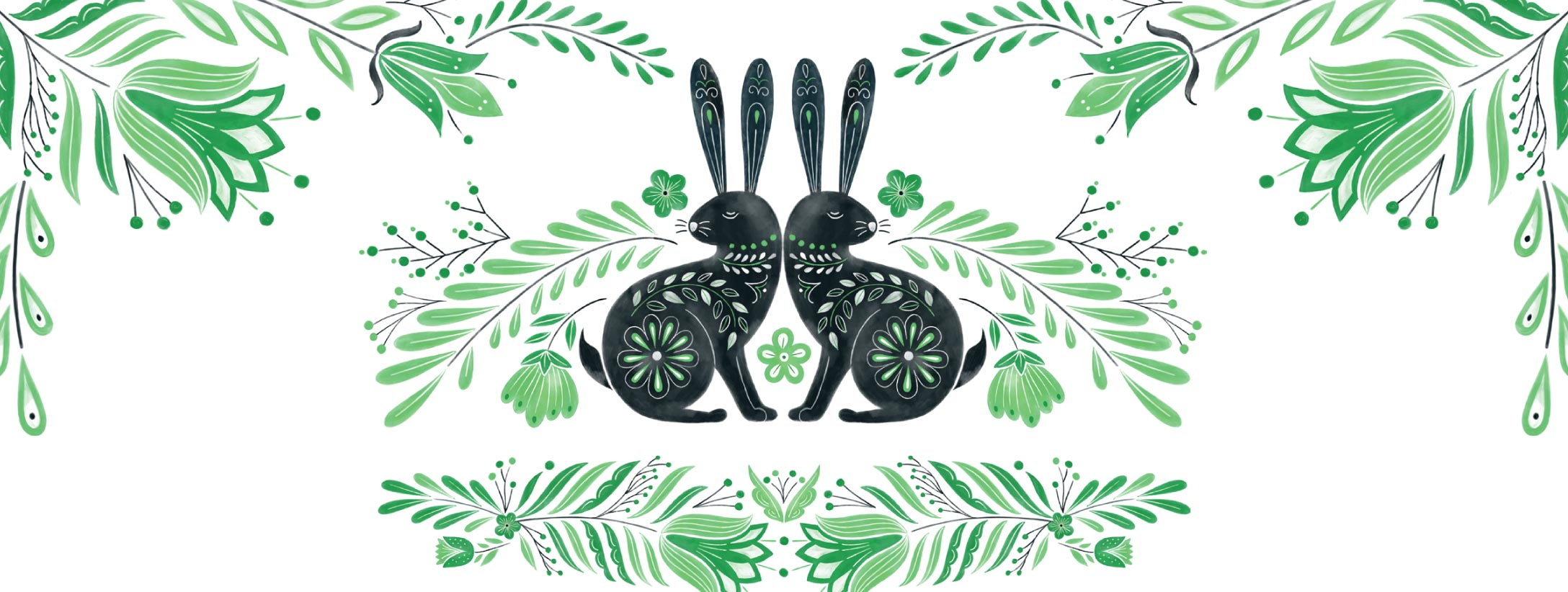Floral pattern with in black and green.