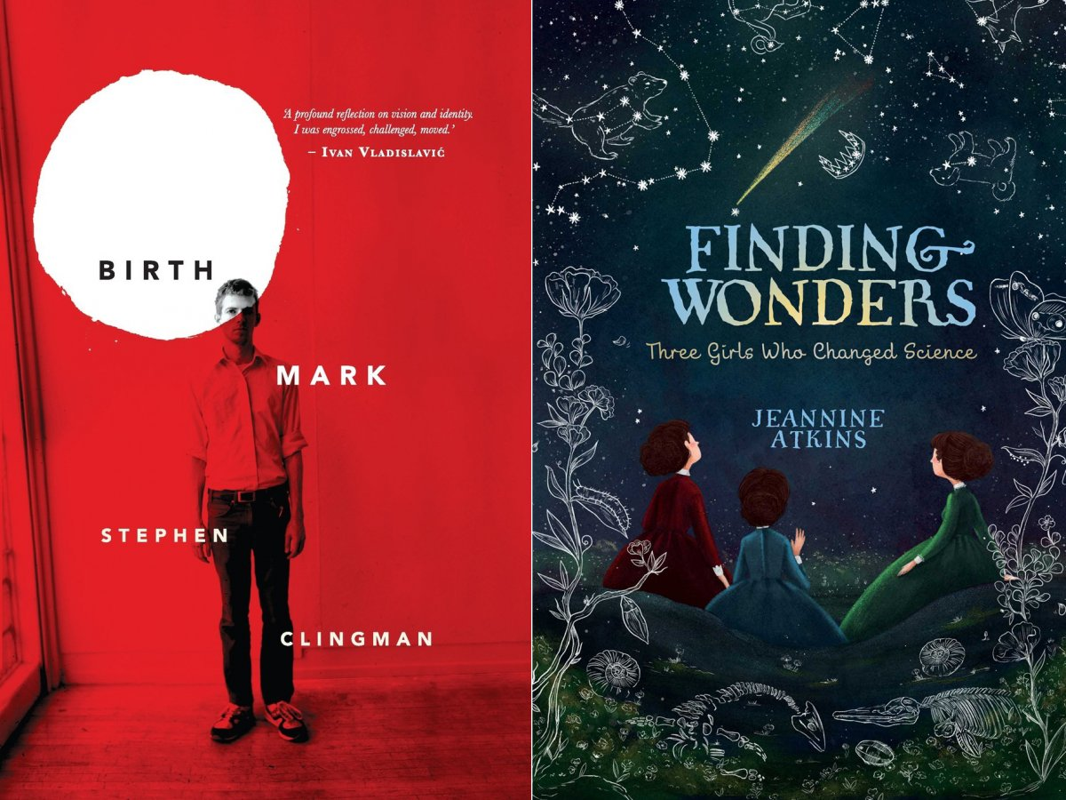 "Book covers of ""Birthmark"" by Stephen Clingman and ""Finding Wonders"" by Jeannine Atkins"