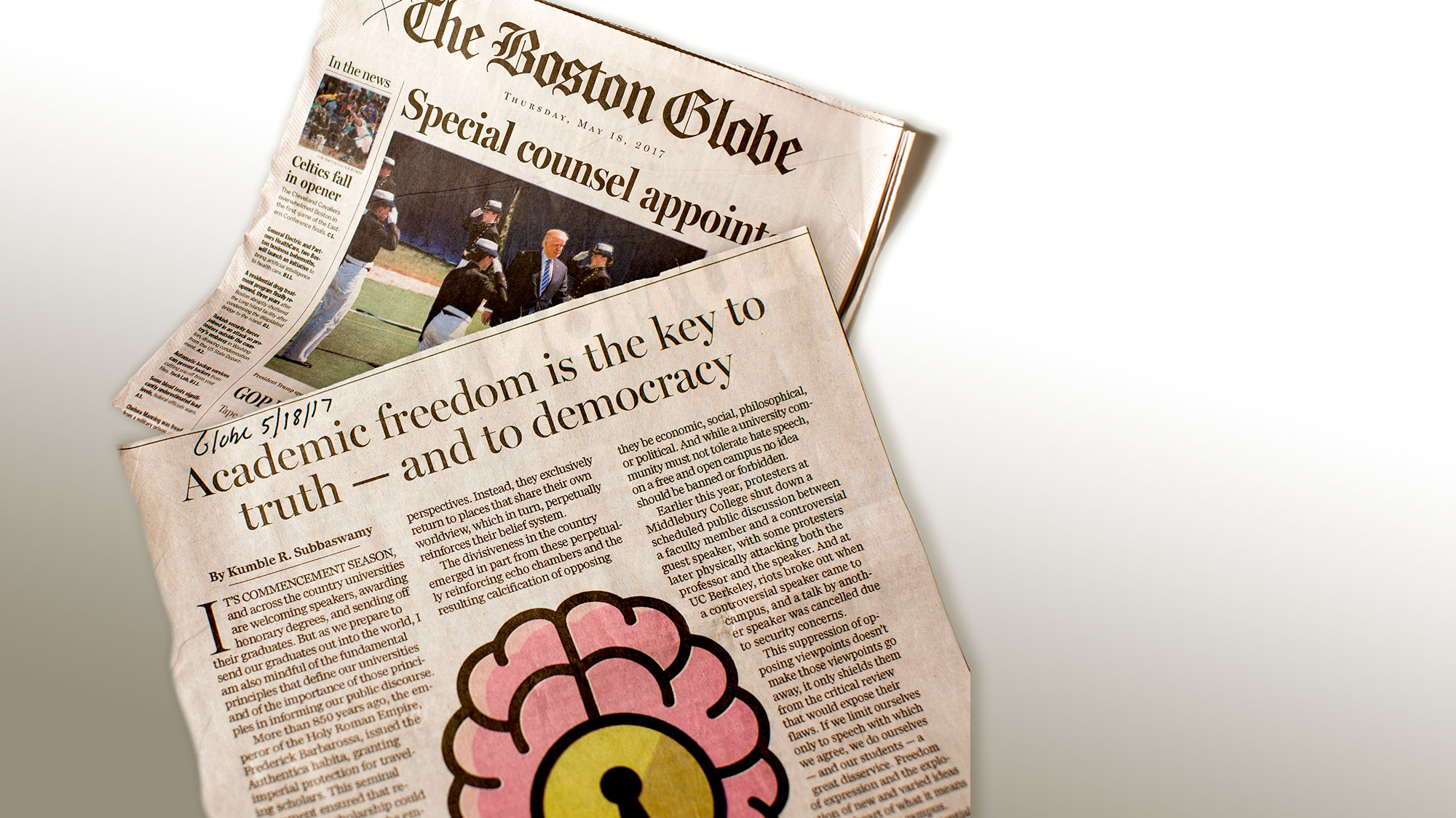 The Boston Globe newspaper featuring an op-ed by UMass Chancellor Kumble Subbaswamy