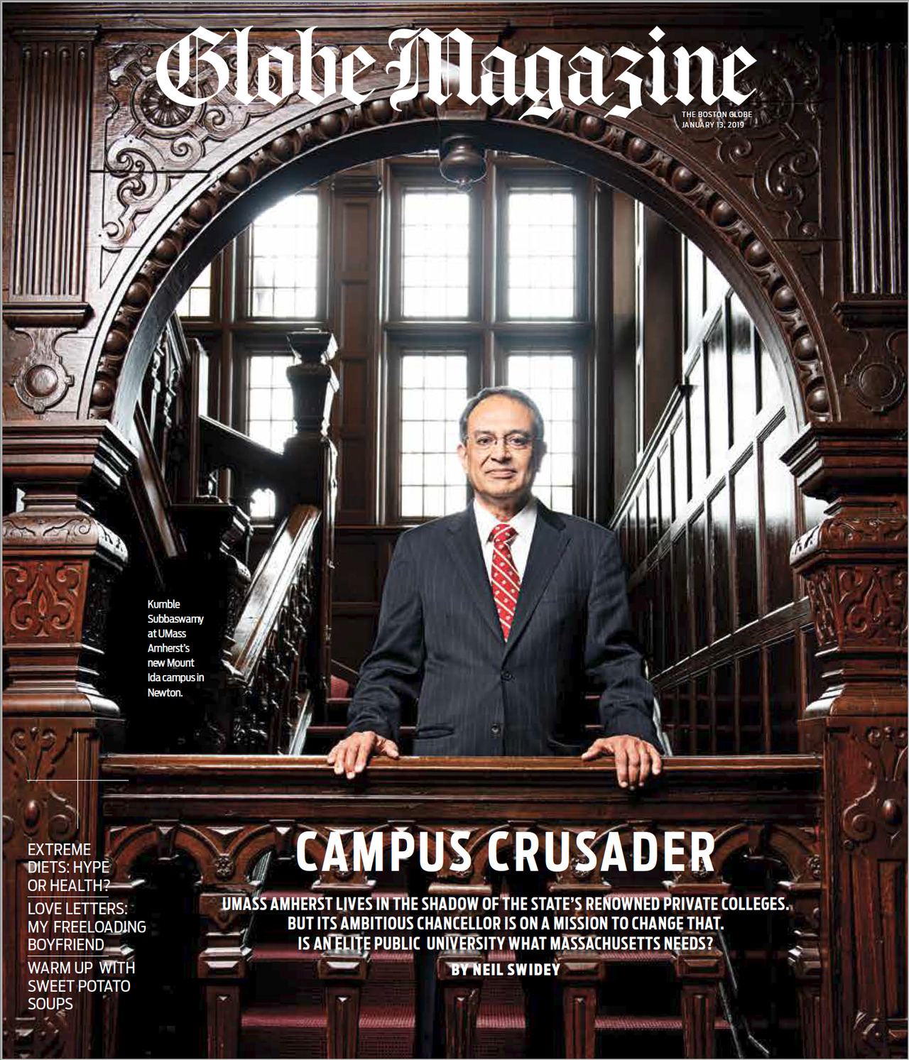 Boston Globe magazine cover featuring UMAss Amherst Chancellor Subbaswamy