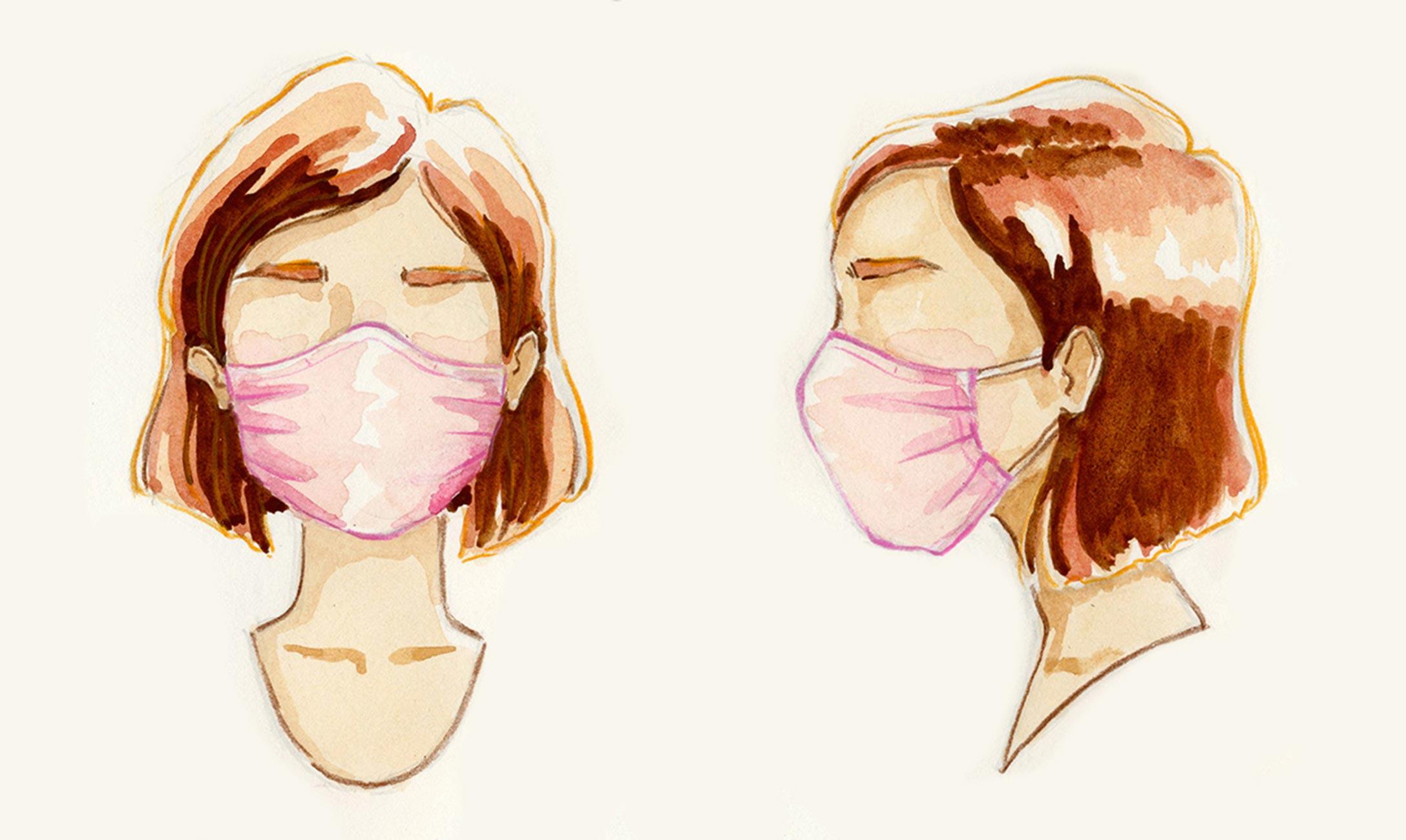Watercolor art of woman in mask side by side.