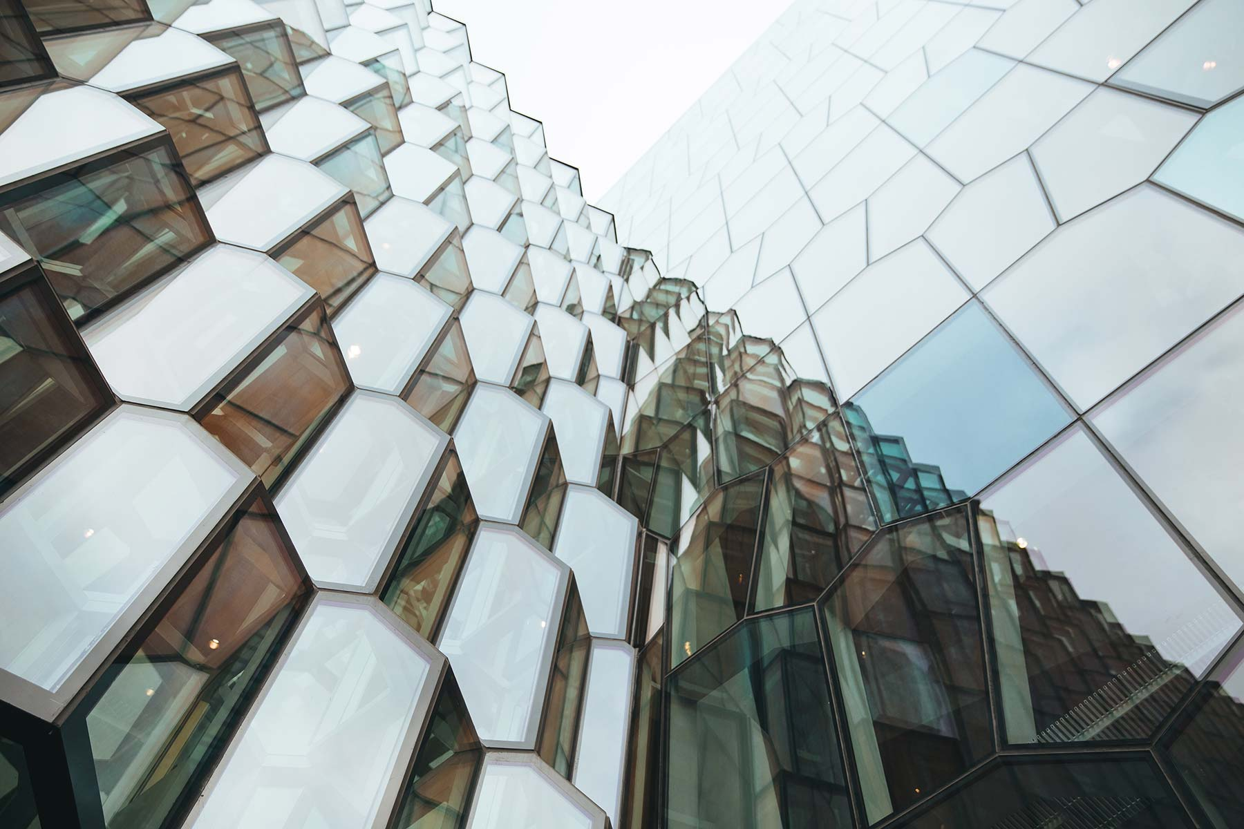 Modern glass architecture pierces the sky.