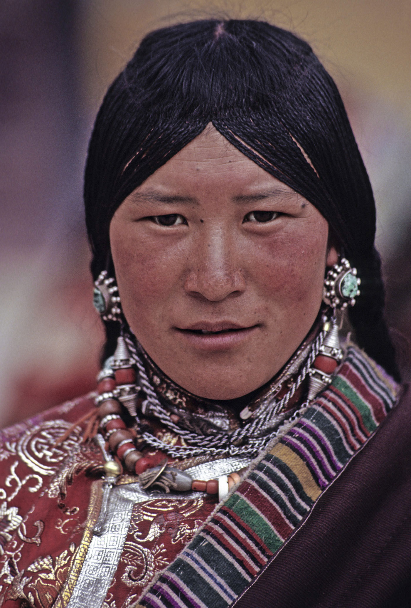Portrait of a woman in Tibet.