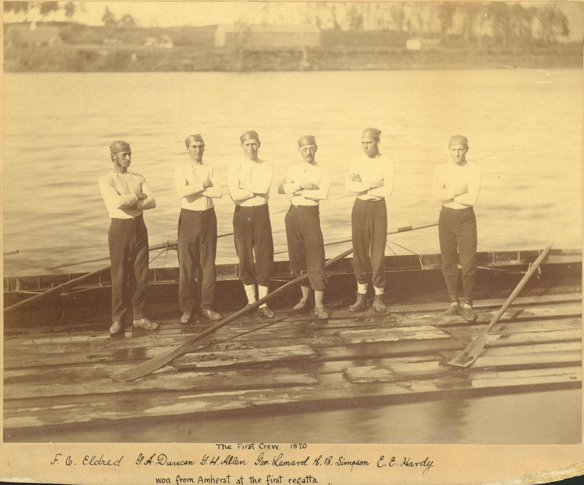 MAC's 1870 crew, victors over Amherst College's junior six: (from left) Frederick Eldred, George Duncan, Gideon Allen, George Leonard, Henry Simpson, and Edward Hardy. Eldred, Allen, Leonard, and Simpson went on to row at Ingleside the following summer; H