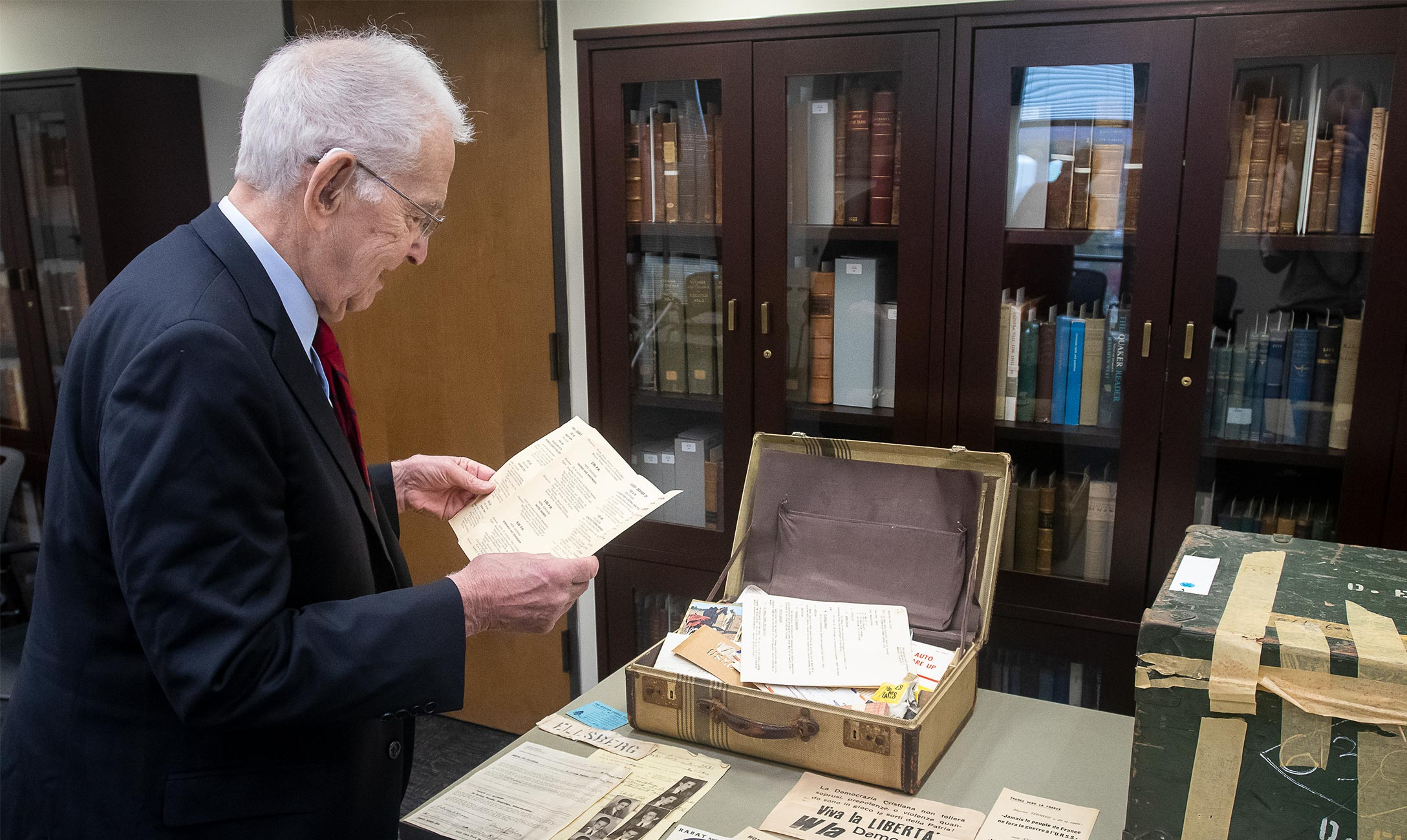 Ellsberg looks at some items that are part of his archive