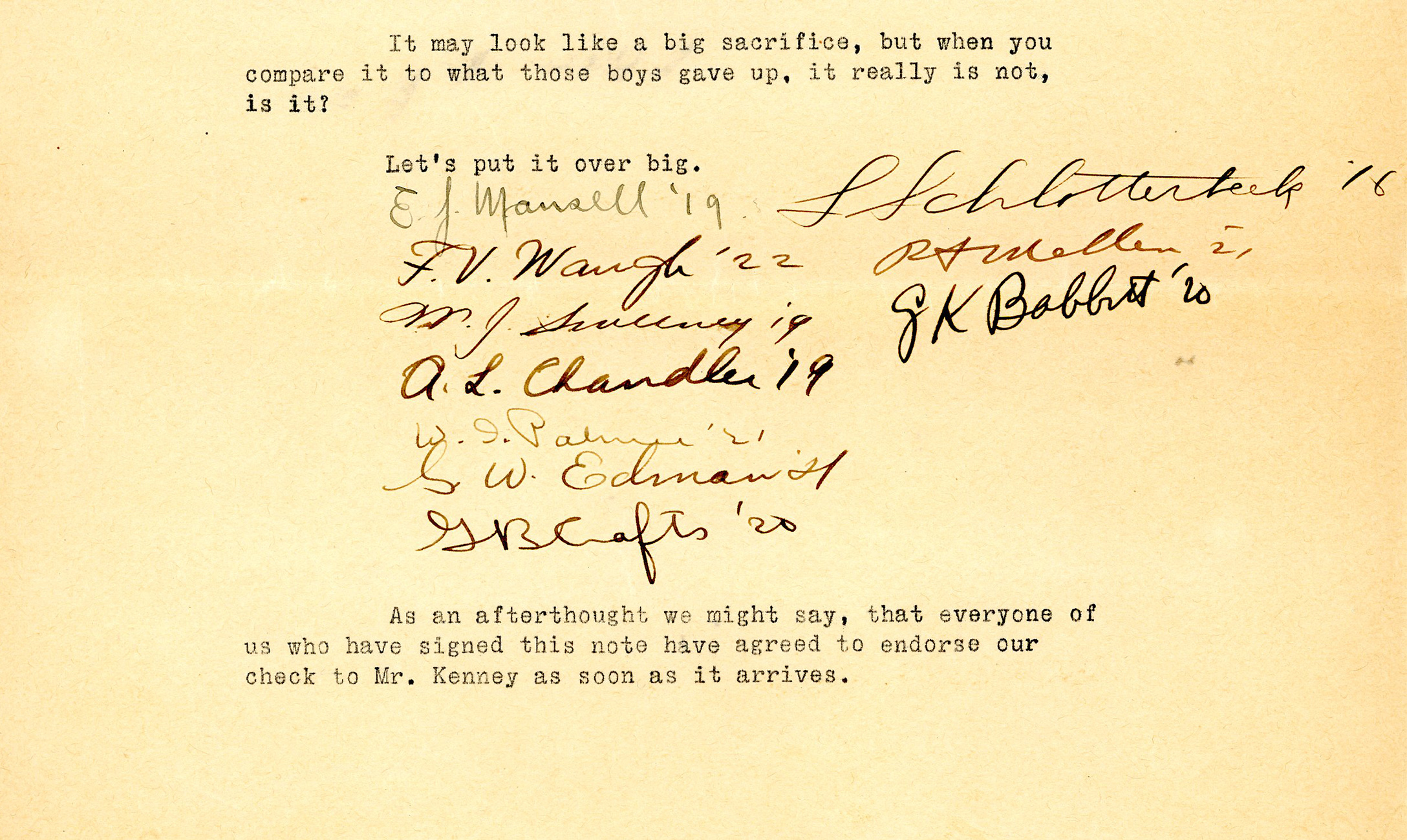 A fundraising letter with multiple signatures at the bottom.