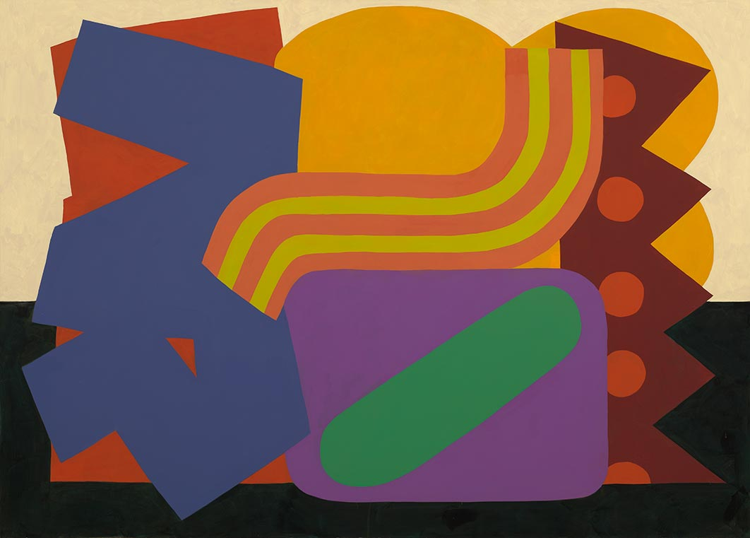 Abstract painting with various shapes and dark colors.