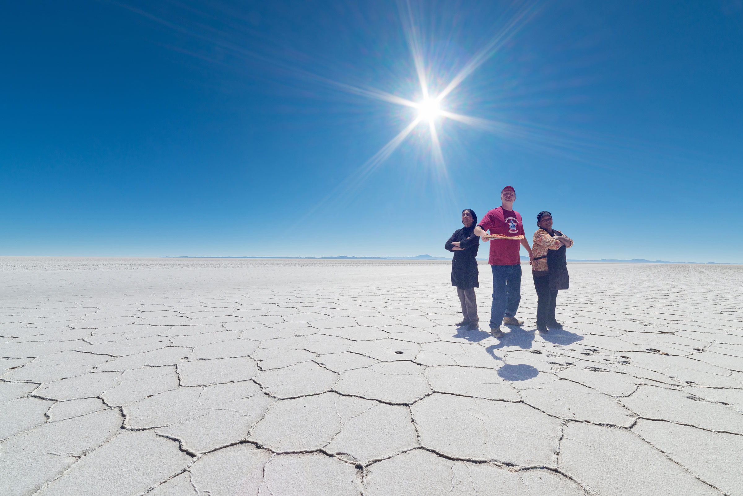 Chris Sarage, owner of Minuteman Pizza, is pictured in the Uyuni Salt Flats in Bolivia.