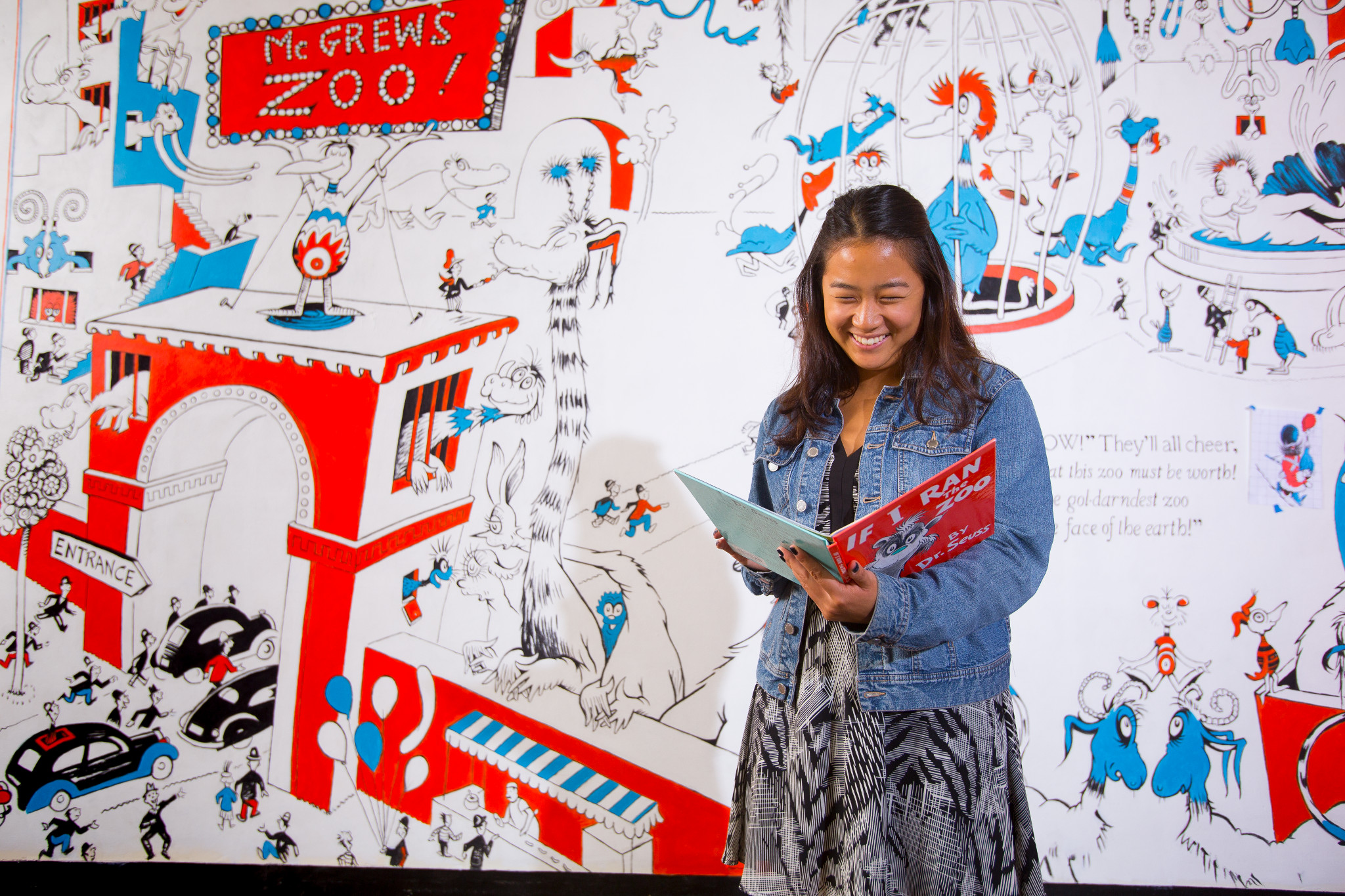 UMass student Elisabeth Yang is pictured at the Seuss Museum.