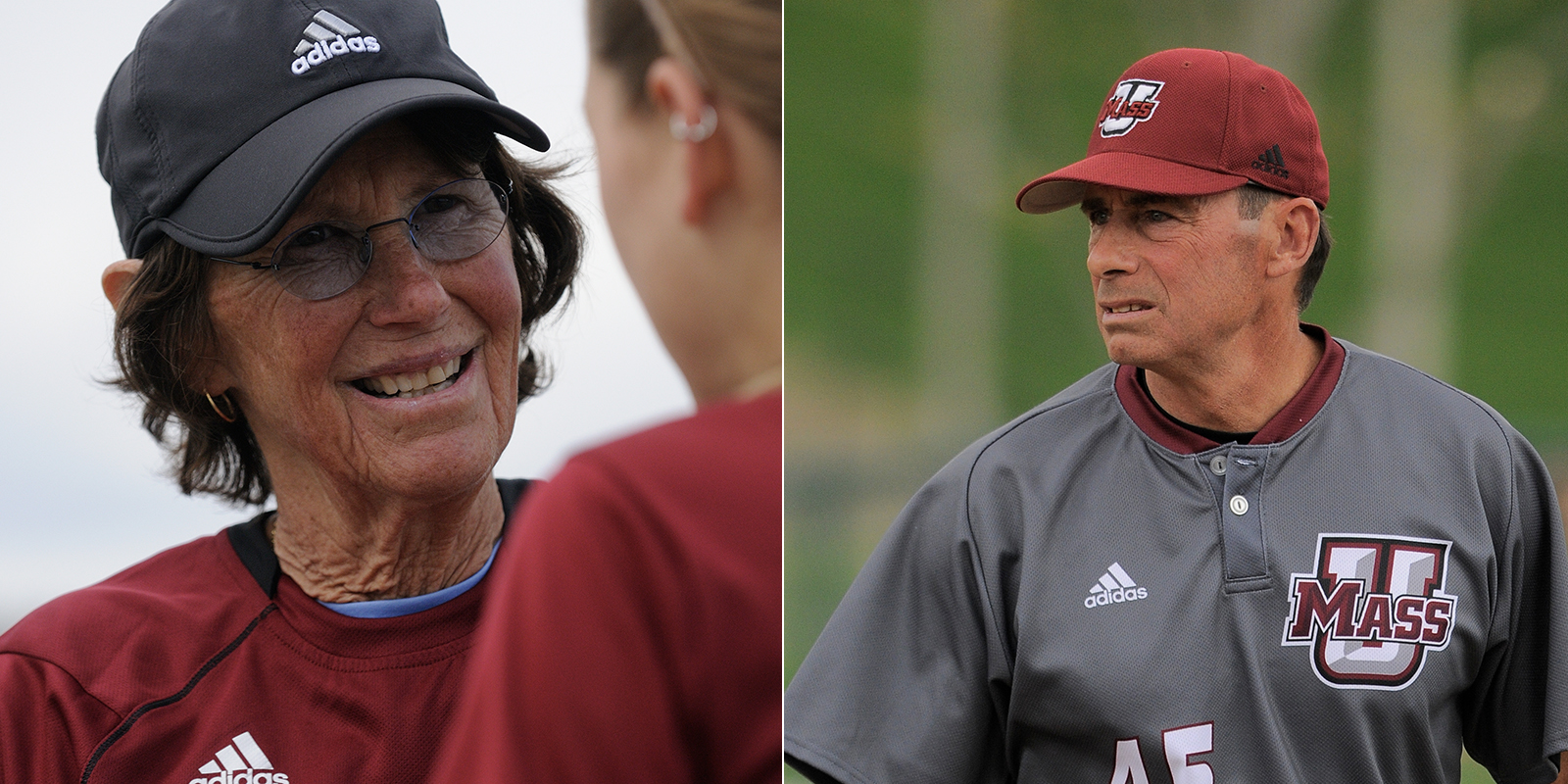 Retiring UMass coaches Judy Dixon (women's tennis) and Mike Stone '82 (baseball)