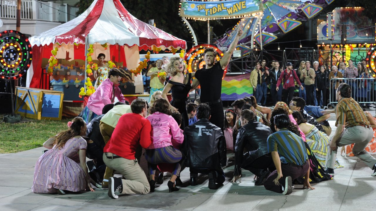 Last day of school carnival, on the set of Grease: Live!, designed by David Korins. (Photo Paramount/Fox.)