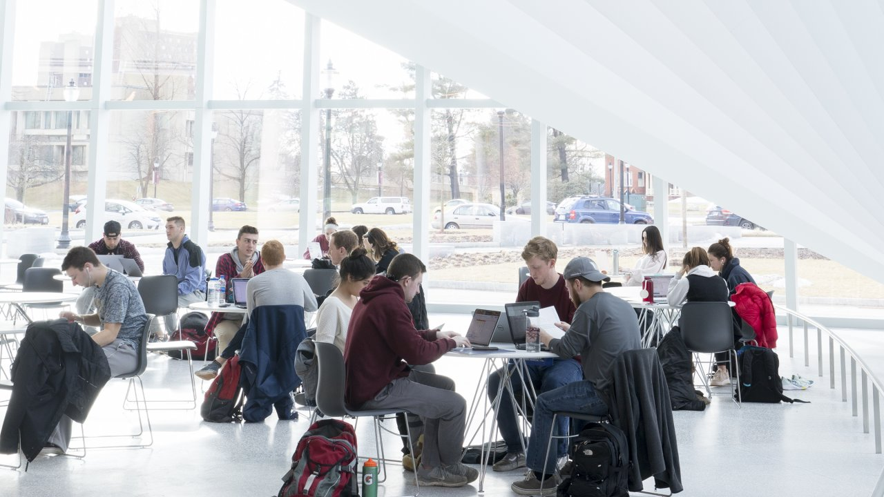 Inside the Business Innovation Hub at the Isenberg School of Management at UMass Amherst.