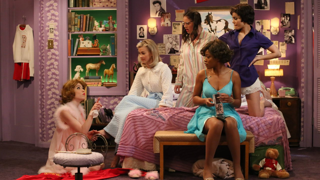Sandy's sleepover party on the set of Grease: Live!, designed by David Korins. (Photo Paramount/Fox.)