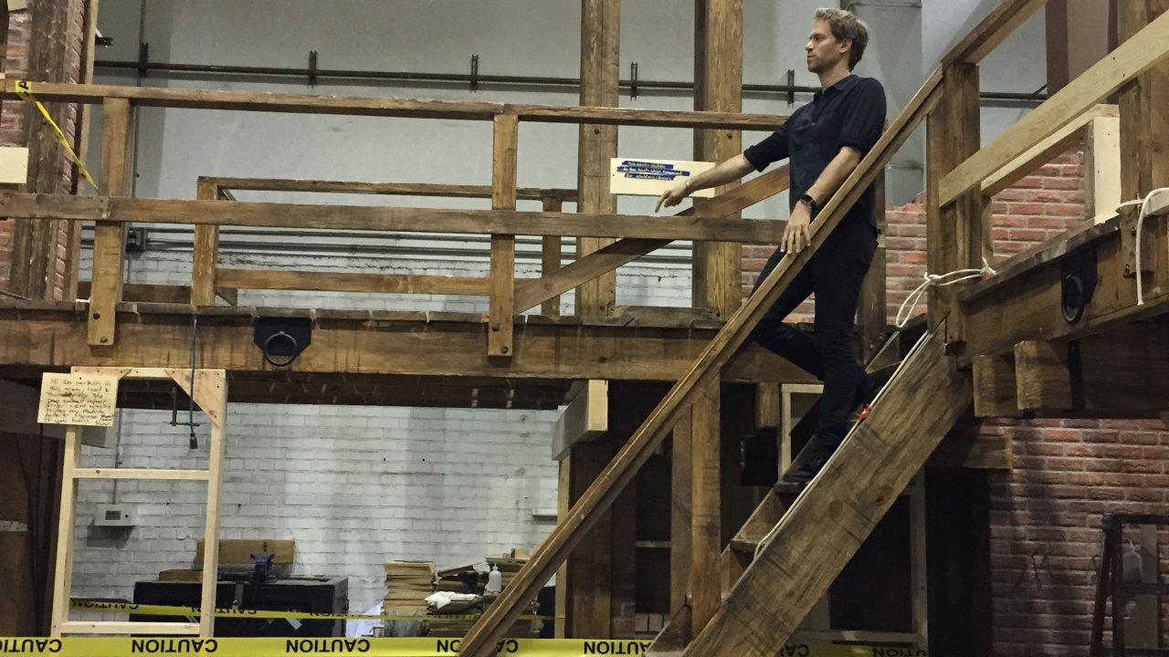 David Korins oversees construction of the Hamilton set. (Photo courtesy David Korins Design.)