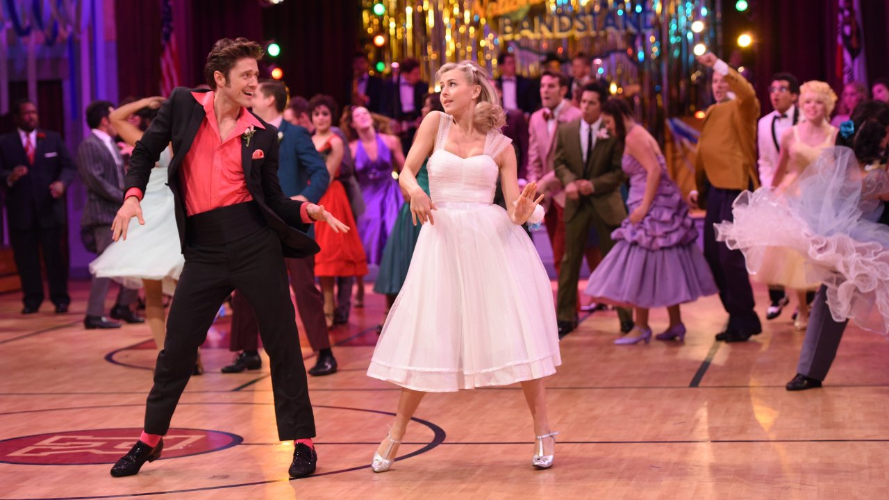 The dance competition scene at Rydell High from the set of Grease: Live!, for which David Korins won an Emmy. (Photo Paramount/Fox.)