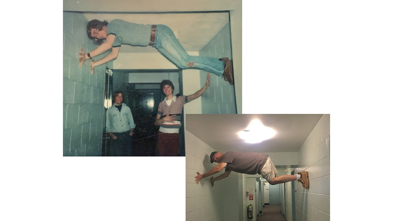 Two photos then and now of person climbing the walls of a hallway.