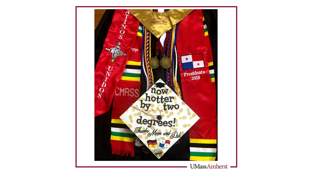 Graduation cap, gown, and honors tassels.