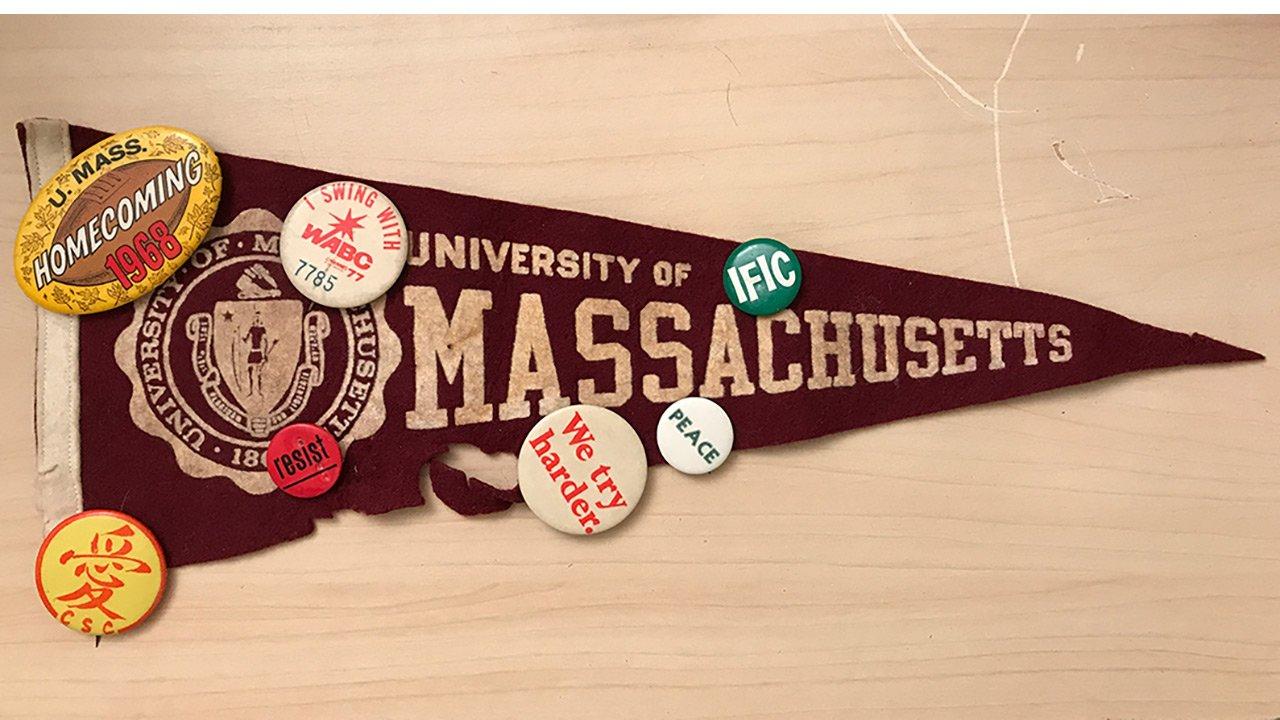 UMass felt flag with pins.