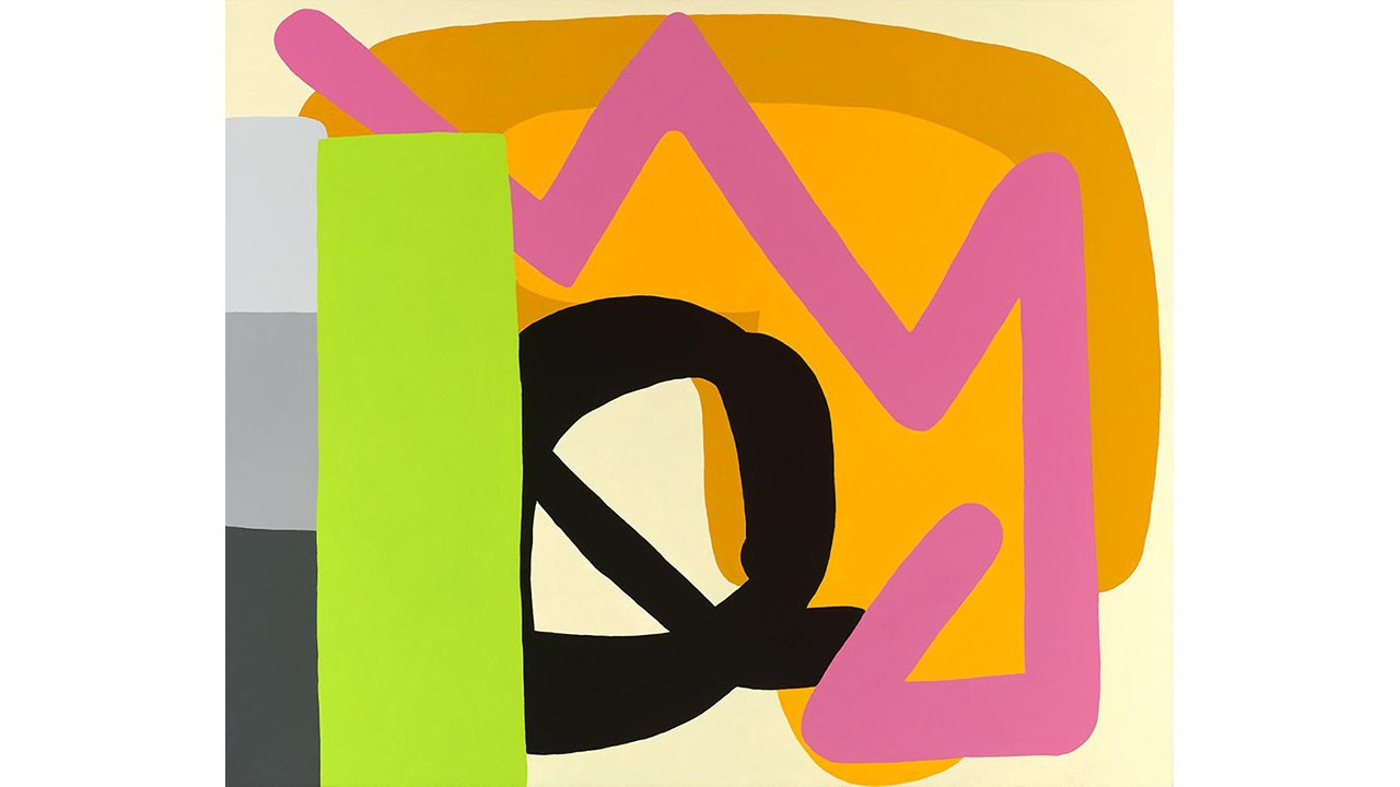 Abstract art with large color blocks and crooked lines.