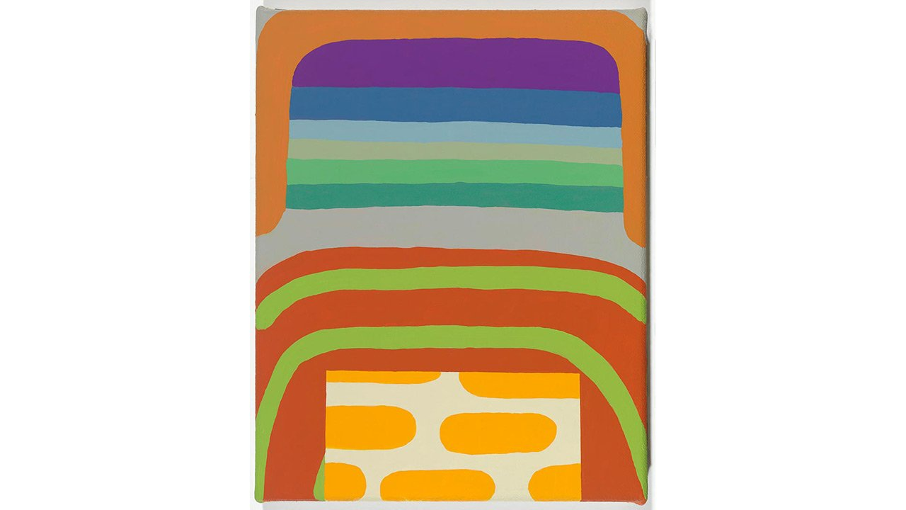 Vertical abstract painting with multiple horizontal lines.