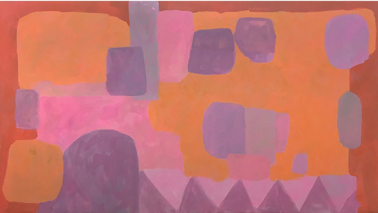 Horizontal abstract painting using pinks, purples, and orange hues.