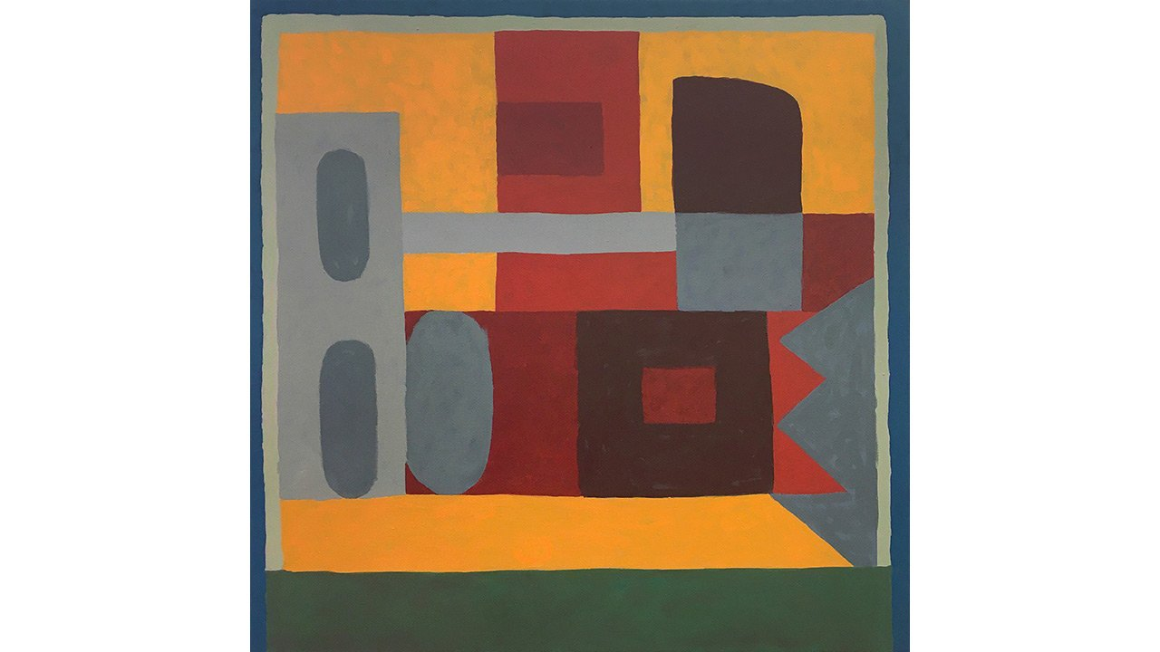 Square painting with dark colors including burnt orange, maroon, blue, and gray.