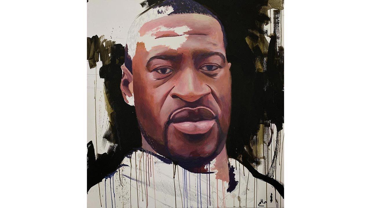 Painting of George Floyd by artist Saleh Lo.