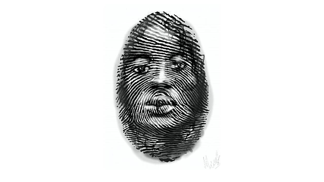 Painting of fingerprint with a face at its center.