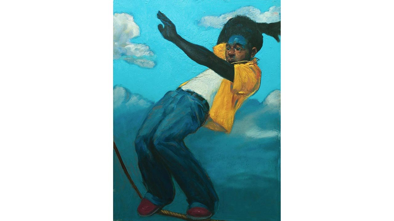 Painting of boy struggling to balance on a tightrope.
